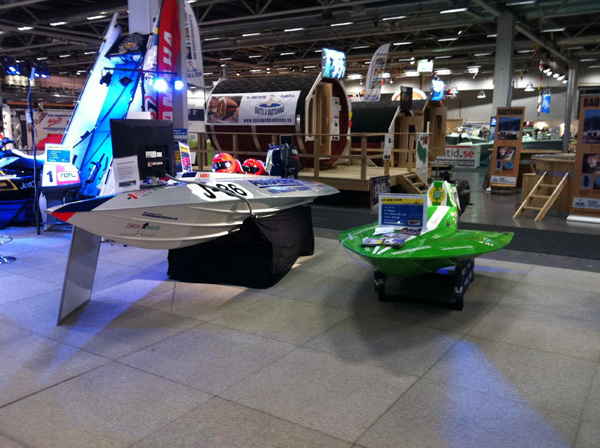 Many raceboats on the Swedish boat show